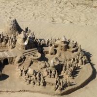 plage,château,sable,