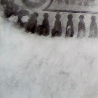neige,silhouettes,foule,,