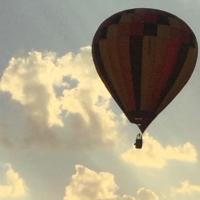 montgolfière,couchant,crépuscule,