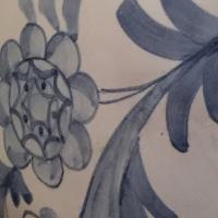 fleur,feuillage,bleu,